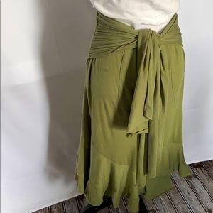 Tracy Evans green attached sash belt midi skirt